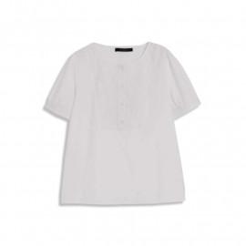 image of 簡約好感白系刺繡花卉澎澎袖上衣 Simple And Nice White Embroidery Flower Sleeve Shirt