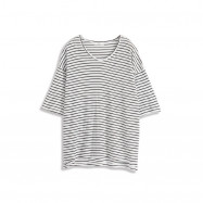 image of 基本黑白條紋七分袖長版上衣 Basic Black And White Striped Seven-Quarter Sleeve Long Top