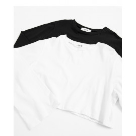image of 休閒素色短版寬袖棉T 兩色售 Casual Plain Short Version Wide-Sleeved Cotton T Two-Colors