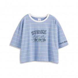 image of 查理‧布朗配色條紋人物短袖T恤 Charlie Brown Color Stripe Character Short Sleeve T-Shirt