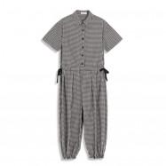 image of 格紋襯衫式腰抽繩連身褲 Plaid Shirt-Style Waist Drawstring Jumpsuit