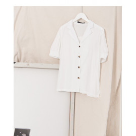 image of 睡衣領泡泡袖襯衫 Pajamas Collar Puff Sleeve Shirt