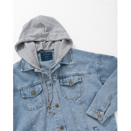 image of 配色車線拼接連帽牛仔外套 Color Matching Line Stitching Hooded Denim Jacket