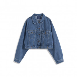 image of 短版寬袖牛仔外套 Short Version Wide-Sleeved Denim Jacket