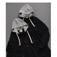 image of 撞色斜紋多口袋連帽外套 Contrast Twill Multi-Pocket Hooded Jacket