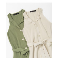 image of 排釦造型針織附綁帶洋裝 兩色售 Buttoned Shape Knit With Strap Dress Two Colors