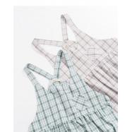 image of 格紋小口袋傘襬吊帶洋裝 兩色售 Plaid Small Pocket Umbrella Swing Strap Dress Two Colors