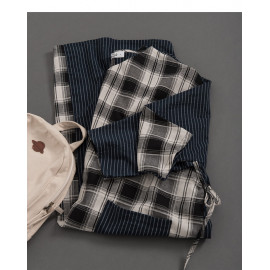 image of 女裝 親子系列撞色格紋腰綁帶棉麻洋裝 Women's Family Series Contrast Plaid Bandage Cotton And Linen Dress