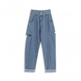 image of 休閒側邊割破造型高腰牛仔褲 Casual Side Cuts High-Rise Jeans