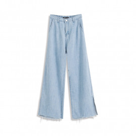 image of 下擺鬚邊打摺設計牛仔寬褲 Denim Trousers With Hem