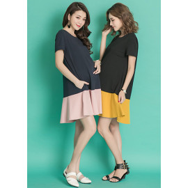 image of 孕婦裝。雙色下接魚尾孕婦短袖洋