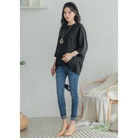 image of 孕婦褲。反摺織帶窄管牛仔長褲