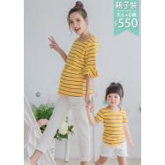 image of 親子裝。彩條荷葉七分袖哺乳T+小童衣(套)