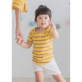 image of 小童裝。彩條下圓襬棉上衣(三色)-小童款