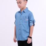 Diesel Kids Full Printed Woven Shirt Long Sleeve - Light Blue