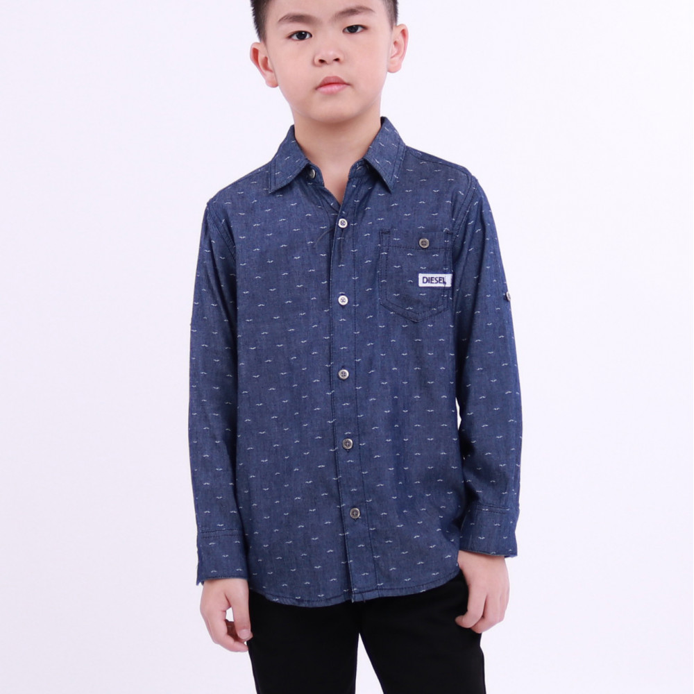 online retailer 805a0 32fa6 Diesel Kids Full Printed Woven Shirt Long Sleeve - Navy