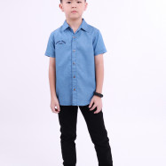 image of Diesel Kids Full Printed Woven Shirt Short Sleeve - Blue