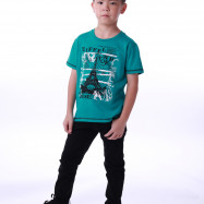image of Diesel Kids Graphic Round Neck Tee - Green