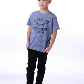 image of Diesel Kids Graphic Round Neck Tee - Light Blue