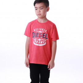 image of Diesel Kids Graphic Round Neck Tee - Orange