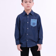 image of Diesel Kids Plain Woven Shirt Long Sleeve - Navy