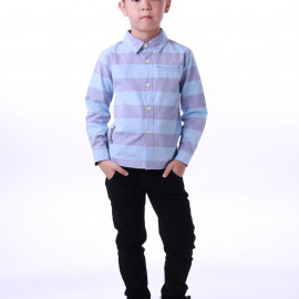 image of Diesel Kids Stripe Woven Shirt Long Sleeve - Blue Grey (Thick Stripes)
