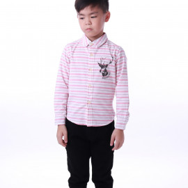 image of Diesel Kids Stripe Woven Shirt Long Sleeve - Pink