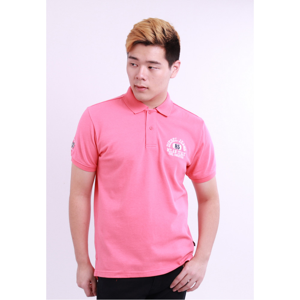 Diesel Men Embroidery Polo Tee - Pink