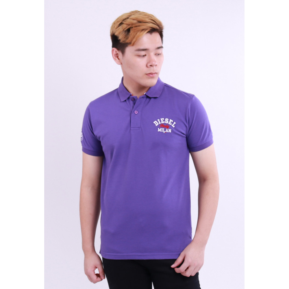 Diesel Men Embroidery Polo Tee - Purple