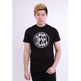 image of Diesel Men Graphic Round Neck Tee - Black