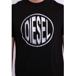 Diesel Men Graphic Round Neck Tee - Black