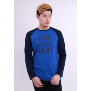 image of Diesel Men Graphic Round Neck Tee Long Sleeve - Blue