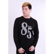 image of Diesel Men Graphics Round Neck Tee Long Sleeve - Black