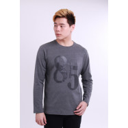 image of Diesel Men Graphics Round Neck Tee Long Sleeve - Dark Grey