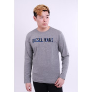 image of Diesel Men Graphics Round Neck Tee Long Sleeve - Grey