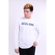 image of Diesel Men Graphics Round Neck Tee Long Sleeve - White