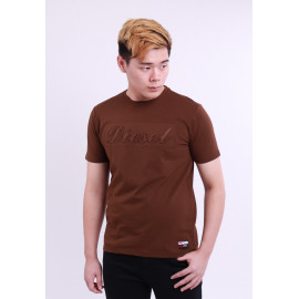 image of Diesel Men Graphics Round Neck Tee Short Sleeve - Dark Brown