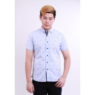 image of Diesel Men Over Bird Embroidery Woven Shirt - Blue