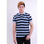 image of Diesel Men Stripe Polo Tee - Blue