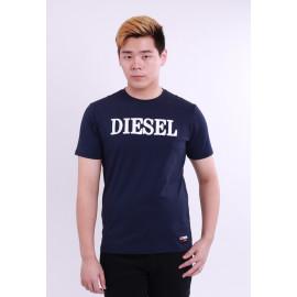 image of Diesel Men Wool Embroidery Round Neck Tee Short Sleeve - Navy
