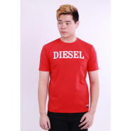 image of Diesel Men Wool Embroidery Round Neck Tee Short Sleeve - Red