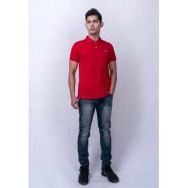 image of Diesel Men Logo Polo S/S - Maroon