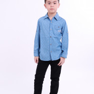 image of Diesel Kids Full Printed Woven Shirt Long Sleeve - Light Blue