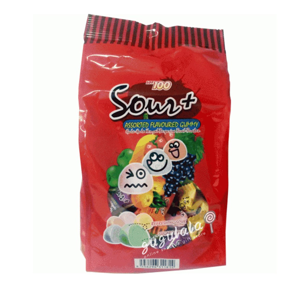 Lot 100 Sour + Assorted Flavoured Gummy 600g