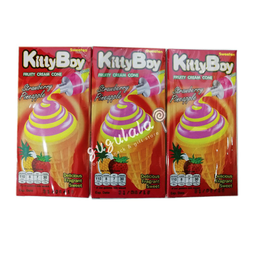 image of KittyBoy Strawberry Pineapple Cream Cone 12'S X 20g