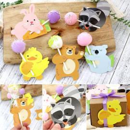 image of 10 Pcs Cute Animals Lollipop Holder