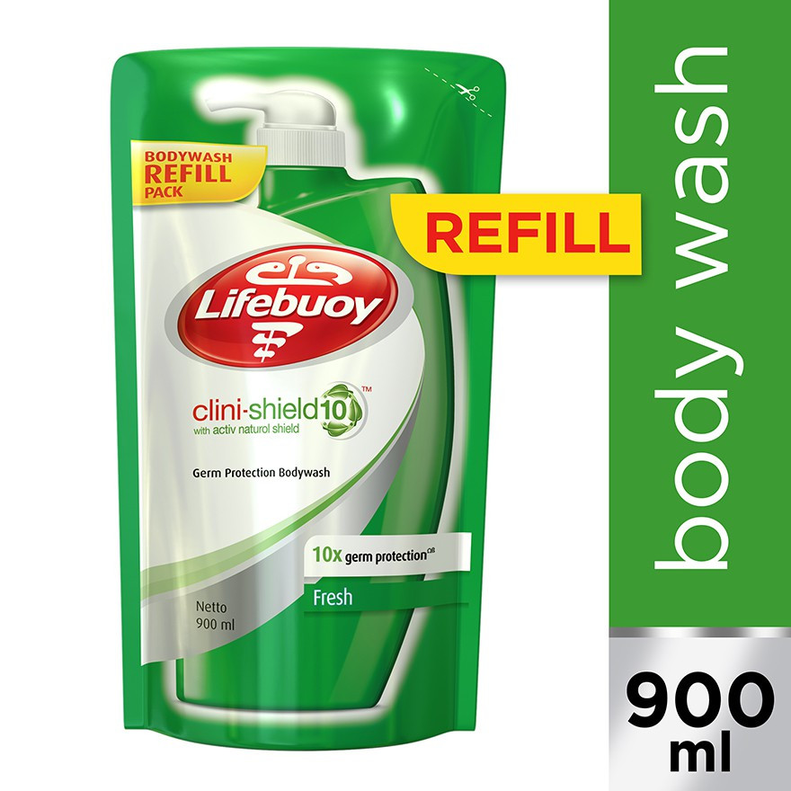 Lifebuoy Clini-Shield Bodywash Refill 900ml, Shower Gel, Body Shampoo Body Wash