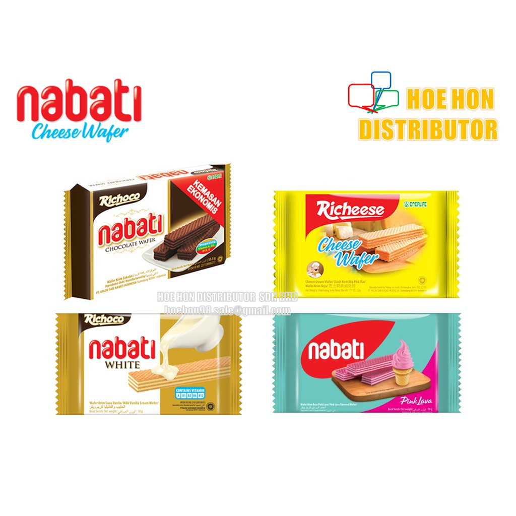 image of Richeese Richoco Nabati Cheese Wafer/ Chocolate Wafer/ White Vanilla Wafer 50g