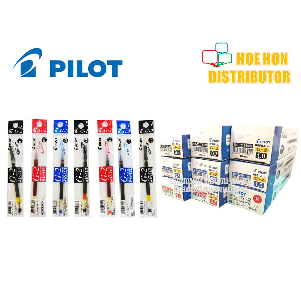 image of Pilot G2 Gel Pen Refill 0.5mm, 0.7mm, 1.0 Mm Black Blue Red (ORIGINAL) G-2