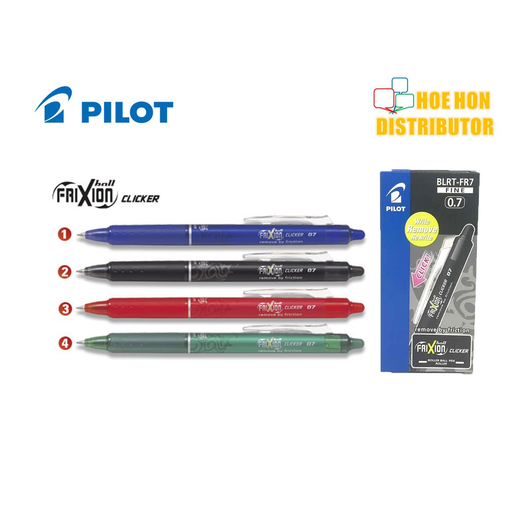 image of Pilot Frixion Clicker Erasable Roller Ball Gel Pen 0.7 Fine Black Blue Red